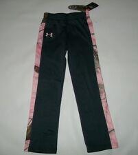UNDER ARMOUR Realtree Camo & Gray Fleece Track PANTS Sweatpants Girls Sz  6X NEW