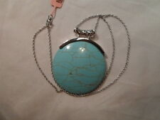 "Howlite Pendant in Silvertone w/Stainless Steel Chain 20"" - 50.00 Carats"