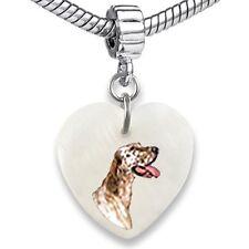 English Setter Heart Dangle Mother Of Pearl European Bracelet Charm Bead EBS275