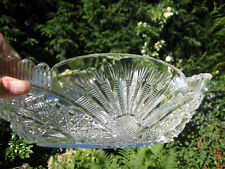A superb antique or vintage large & heavy intricately cut glass boat shaped bowl