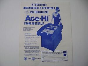 1970's From Australia Ace-Hi Cocktail Arcade Game Original sales flyer brochure