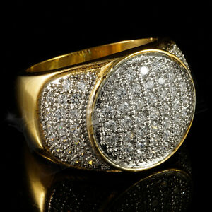 18K IP Gold Stainless Steel Lab Diamond Band Micro-pave Mens Hip Hop Pinky Ring