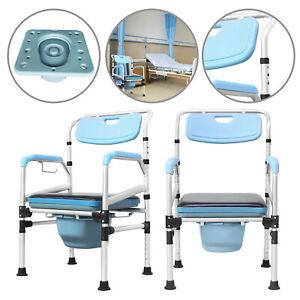 Alu Toilettenstuhl WC Stuhl Dusch Toilettenhilfe feststehend mit Rückenlehne