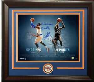 Carmelo Anthony Bernard King signed 16x20 photo framed 60 Point Auto Steiner COA
