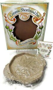 "Butterfly Octagonal Ceramic Shortbread Pan measures 9"" Brown Bag Recipe Booklet"