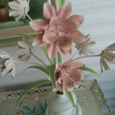 Vintage Shabby Chic Pink White Flower Metal Tole Lamp Large