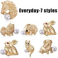 Charm Animal Cat Dog Horse Pearl Women Piercing Breastpin Brooch Pin Jewellery