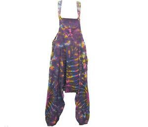 Handmade Tie Dye Overalls - Colourful Festival Cotton Outdoor Hippy Summer Boho