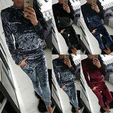 Womens Crushed Velvet Tops 2Pcs Causal Lounge Wear Tracksuit Set Plain Sportwear