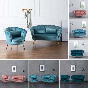 1/2 Seater Sofa Couch Settee Blush Velvet Lotus Seat Shell Tub Chair Armchair UK