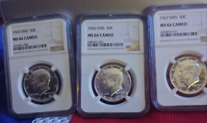 1965-66-67 SMS Kennedy Half Dollars NGC MS 66 CAMEO Set All 3 coins.