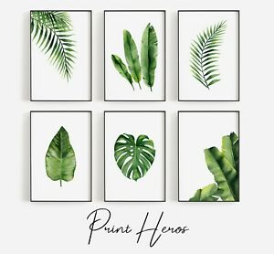 MODERN LIVING ROOM WATERCOLOUR PAINTING LEAVES ART PRINT WALL POSTER HOME DECOR