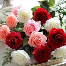 Random Color Bridal Artificial Rose Wedding Decor Fake Silk Flower Leaf 1PCS