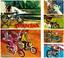 HONDA Posters CB750 CB450 CB350 CA175 CD175 C50 Set of 6 1967 1968 1969 1970