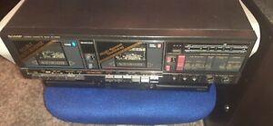 Sharp Stereo Dual Cassette Deck Recorder / Player Model RT-W800 Vtg Tested