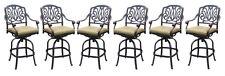 Patio bar stools set of 6 Elisabeth cast aluminum outdoor barstool Bronze