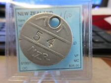 New Zealand / N.Z.R. (New Zealand Railway) Time Check Token # 54 29mm