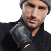 Mens Winter Thermal Long Fleece/Cashmere Lining Leather Classical Driving Gloves