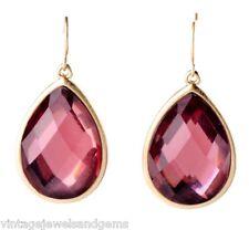 BLUSH ROSE PINK TEARDROP DIAMANTE Crystal Rhinestone & Gold Dangle Drop Earrings