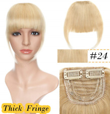 Clip in Fringe Hair Piece Remy Human Hair 100% Real One Piece Clip in Hair #24