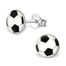 Pair of Football Logo Ear Studs Sterling Silver Earrings Earing Boys Mens (A29)