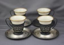 Set 4 VTG Lenox Sterling Silver Porcelain Demitasse Insert Cup and Saucer