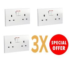 3 X Schneider Get Ultimate 2Gang 13amp Twin Flush S- Pole White Switched Socket.