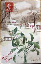 Original Art/Hand-Painted 1917 Postcard: New Year Scene, Artist-Signed