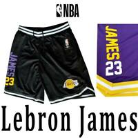 "MEN'S LEBRON ""James 23"" LOS ANGELES LAKERS SHORTS BLACK PURPLE YELLOW M L XL 2XL"