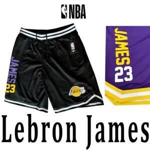 "MEN'S LEBRON ""James 23"" LOS ANGELES LAKERS SHORTS BLACK PURPLE YELLOW M L XL"