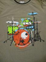 XL tan DRUMSET / DRUMMING ringer t-shirt by CIRCO