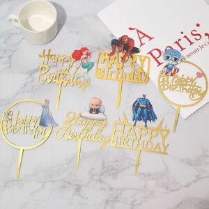 Kids Happy Birthday Acrylic Cake Topper Mermaid Elsa Spider Man Decoration Party