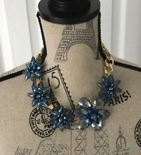 STUNNING BLUE MASSIVE NECKLACE 18 IN-FLOWER COUTURE LIKE-UNUSUAL & STRIKING