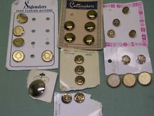 25 Vintage Metal Blazer Buttons on Original Cards, Mixed Sizes