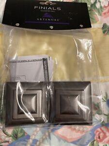 ARTENURE Gun Metal Curtain Rod Finials 2 Finials NEW IN BOX