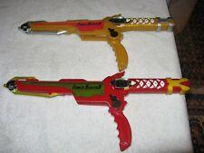 SET OF 2  VINTAGE Power Rangers 2002 NINJA STORM RED & GOLD EDITIONS GUN / SWORD