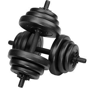 2x Set d'haltères courtes revêtement plastique poids barre musculation 20 kg