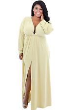 New Stunning Yellow Deep V Neck Long Sleeve Plus Size Maxi Dress 16 18 20 22 24