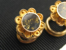2 Antique Victorian Edwardian 14K Gold Etruscan Gold in Quartz Stud Buttons