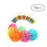 50 pcs Mixed Paper Cocktail Umbrellas Parasols for Party Tropical Drinks AM3