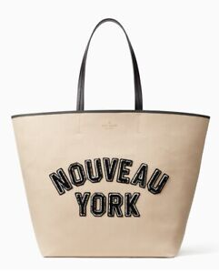 Kate Spade Dashing Beauty NOUVEAU YORK Tote Bag Beige Twill PXRUA062 NWT