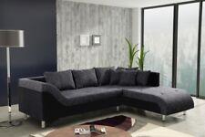 Sofa Couch Ecksofa Eckcouch Sofagarnitur in graubraun / schwarz - Male R