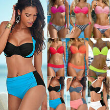 Women Push-Up Strappy Bra Bikini Set Swimsuit High Waist Bathing Suit Swimwear