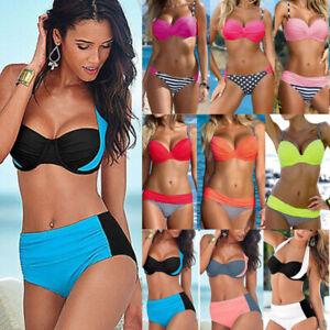 Womens Padded Push Up Strappy Bra Bikini Set Beach Swimsuit High Waist Swimwear