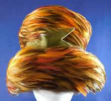 Vintage 1960s Mod Colorful Orange Yellow Green Feathered Flower Pot Bucket Hat
