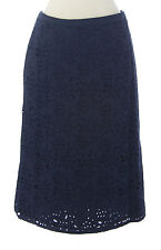 BODEN Women's Navy Blue Knee-Length Pencil Eyelet Skirt US Size 10 Long NEW