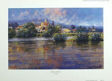 "LIONEL AGGETT ""Evening - Vetheuil"" riverside SIGNED LTD SIZE:34cm x 47cm NEW"