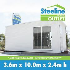 Brand New COLORBOND® Kit Shed / Granny Flat - 3.6m x 10.0m