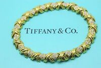 Tiffany & Co Signature X Diamond & 18k Yellow Gold Bracelet 2.00 tcw 7 inches