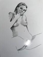 Female Nude drawing ORIGINAL graphite art minimalism naked woman NO RESERVE